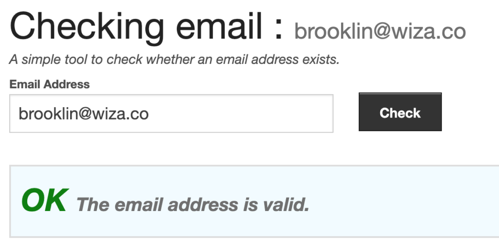 verify an email address with a checker